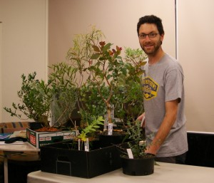 Jason with several young specimens of eucalypts discussed in his presentation